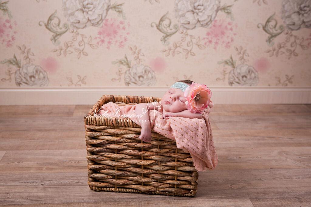 bebe qui dort dans un gros pannier