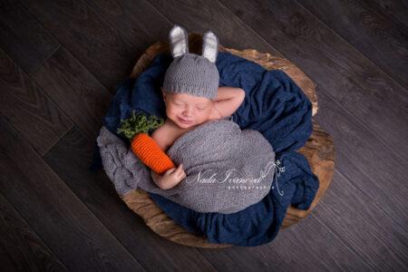 photographe bebe deguiser lapin avec carotte